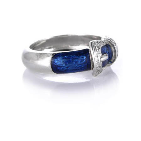 18ct hidalgo and blue enamel 18k white gold