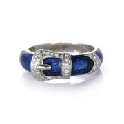 Hidalgo Diamond and Blue Enamel 18k White Gold Buckle Ring