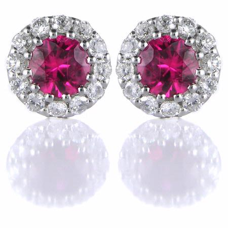 Diamond and Ruby 18k White Gold Cluster Earrings