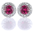 .29ct Diamond and Ruby 18k White Gold Cluster Earrings