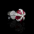 .99ct Diamond and Ruby 18k White Gold Cluster Earrings