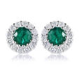 .30ct Diamond and Emerald 18k White Gold Cluster Earrings