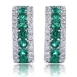 .31ct Diamond and Emerald 18k White Gold Huggie Earrings