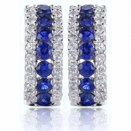 Diamond and Blue Sapphire 18k White Gold Huggie Earrings