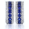 .33ct Diamond and Blue Sapphire 18k White Gold Huggie Earrings