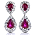 .78ct Diamond and Ruby 18k White Gold Dangle Earrings