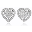 1.07ct Diamond 18k White Gold Heart Cluster Earrings