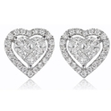 Diamond 18k White Gold Heart Cluster Earrings