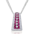 .58ct Diamond and Ruby Antique Style 18k White Gold Pendant