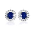 .32ct Diamond and Blue Sapphire 18k White Gold Earrings