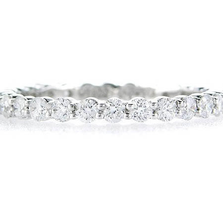 Diamond Round Brilliant Cut Platinum Eternity Wedding Band Ring