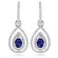 .79ct Diamond and Blue Sapphire 18k White Gold Dangle Earrings