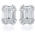 .70ct Diamond 18k White Gold Cluster Earrings
