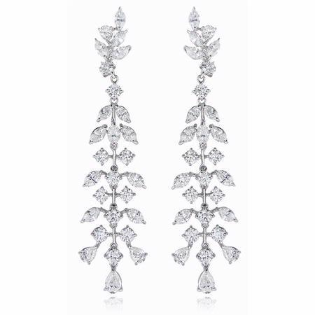 1208ct diamond 18k white gold chandelier earrings aloadofball Choice Image