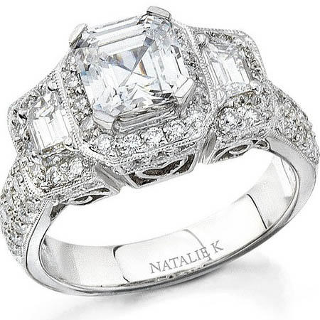 Natalie K Diamond Antique Style Platinum Halo Engagement Ring Setting