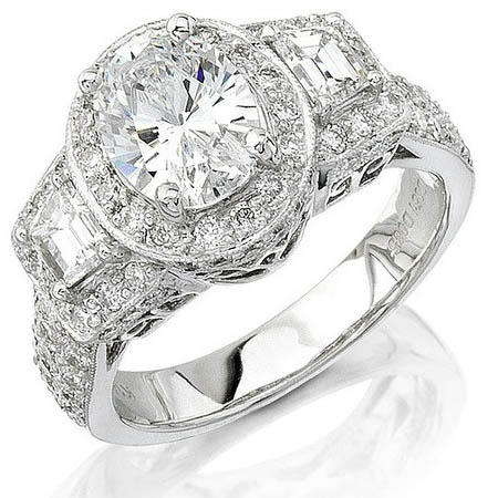 Natalie K Diamond Antique Style 18k White Gold Halo Engagement Ring Setting