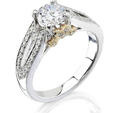 Natalie K Diamond Antique Style 18k Two Tone Gold Engagement Ring Setting