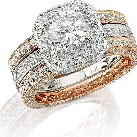 Natalie K Diamond Antique Style 14k Two Tone Gold Halo Engagement Ring Setting and Wedding Band Set