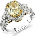 Natalie K Diamond Antique Style 18k Two Tone Gold Halo Engagement Ring Setting
