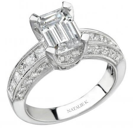 Natalie K Diamond Antique Style Platinum Engagement Ring Setting