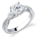 Natalie K Diamond Platinum Antique Style Engagement Ring Setting