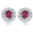 1.03ct Diamond and Ruby 18k White Gold Earrings
