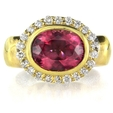 .46ct Diamond and Rubellite 18k Yellow Gold Ring