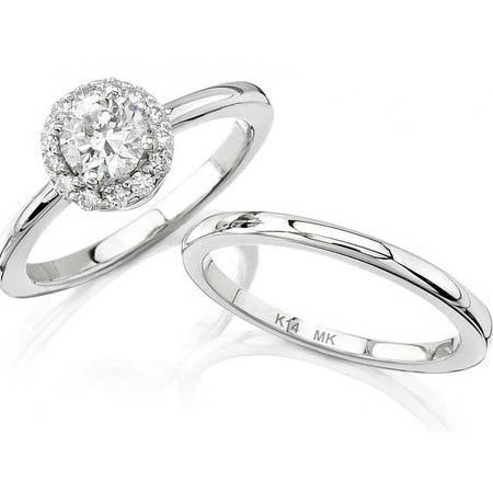 Diamond 18k White Gold Halo Engagement Ring Setting And Wedding Band Set
