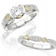 .41ct Diamond Antique Style 18k Two Tone Gold Engagement Ring Setting and Wedding Band Set