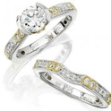 Diamond Antique Style 18k Two Tone Gold Engagement Ring Setting and Wedding Band Set