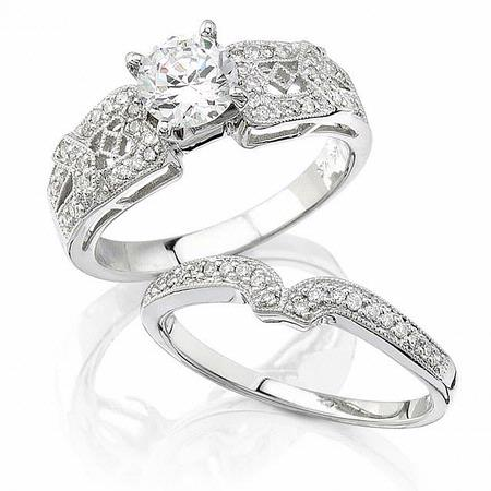 Diamond Antique Style 18k White Gold Engagement Ring Mounting and Wedding Band Set