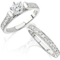 Diamond Antique Style 18k White Gold Engagement Ring Setting and Wedding Band Set