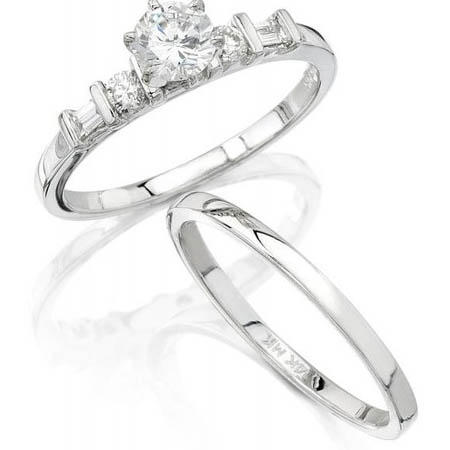 Diamond 18k White Gold Engagement Ring Setting and Wedding Band Set