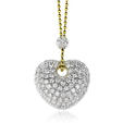 4.12ct Leo Pizzo Diamond 18k Two Tone Gold Heart Pendant Necklace