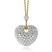 Leo Pizzo Diamond 18k Two Tone Gold Heart Pendant Necklace