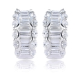 3.62ct Diamond 14k White Gold Huggie Earrings