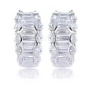 Diamond 14k White Gold Huggie Earrings