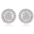 1.04ct Diamond 18k White Gold Cluster Earrings