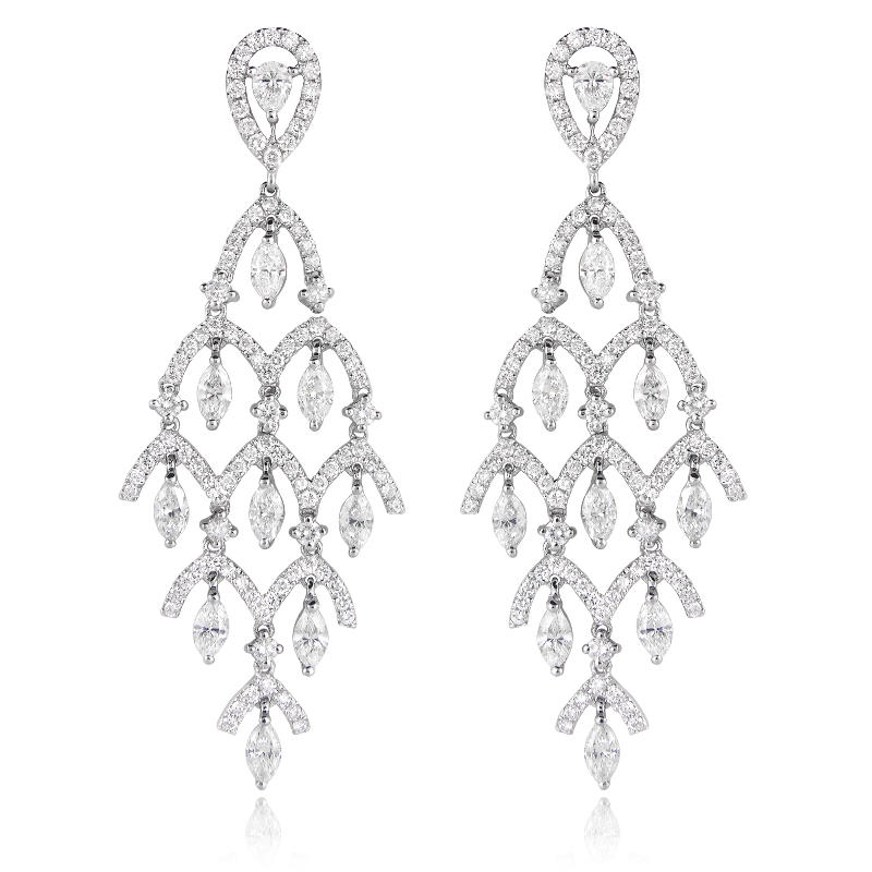 3 50ct Diamond 18k White Gold Chandelier Earrings