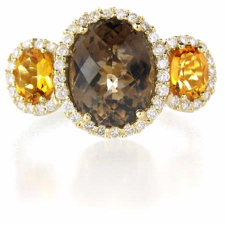 Diamond Citrine and Smokey Quartz 14k Yellow Gold Ring