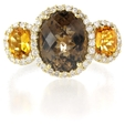 .32ct Diamond Citrine and Smokey Quartz 14k Yellow Gold Ring