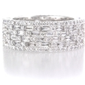 Diamond 18k White Gold Six Row Eternity Wedding Band Ring