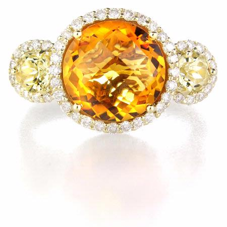 Diamond Citrine and Green Quartz 14k Yellow Gold Ring