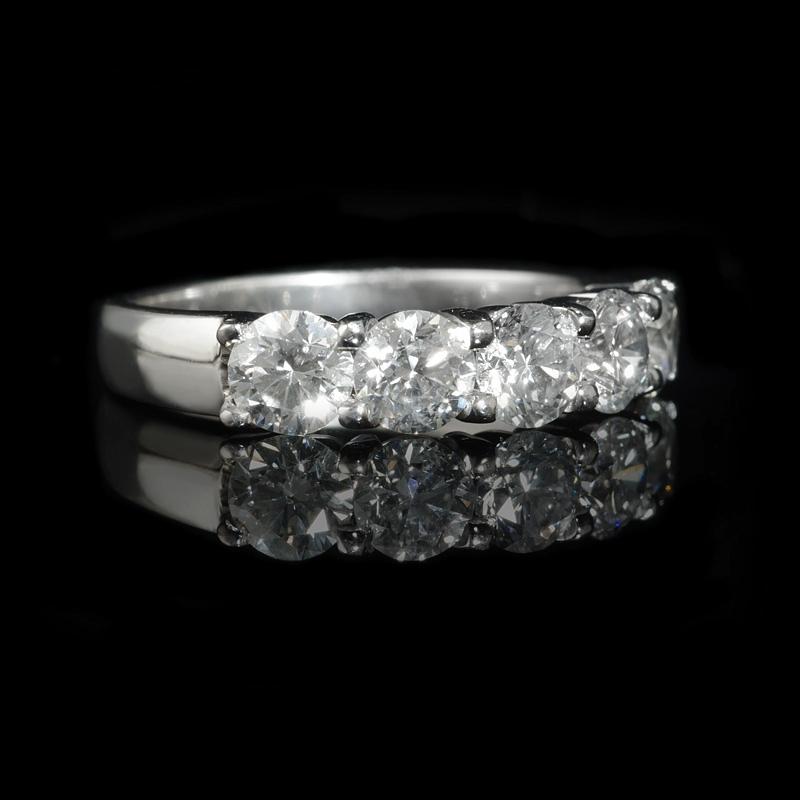 diamond platinum five stone wedding band ring 3107