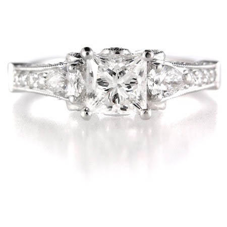 Diamond Platinum Antique Style Engagement Ring Setting