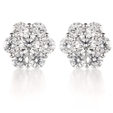 1.87ct Diamond 18k White Gold Cluster Earrings