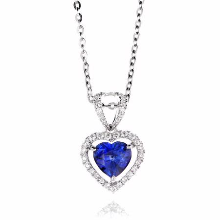 Diamond and Blue Sapphire 18k White Gold Heart Pendant Necklace