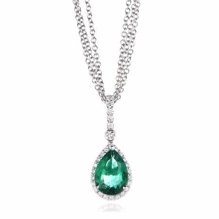 Diamond and Emerald 18k White Gold Pendant Necklace