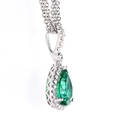 .25ct Diamond and Emerald 18k White Gold Pendant Necklace