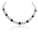 Diamond & Blue Sapphire Platinum Necklace